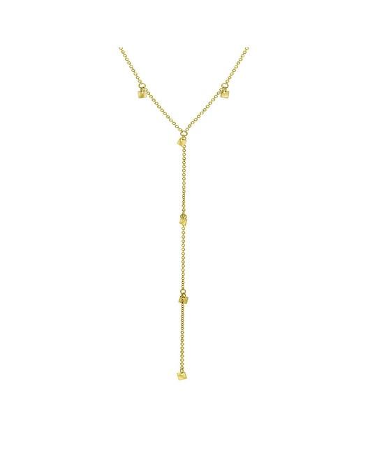Lucardi Goldplated Ketting Met 10 Vierkante Bedels