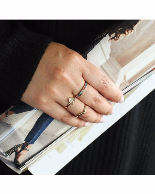 Lucardi Goudkleurige Byoux Ring Met Hart Initiaal