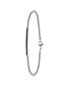 Armband aus Edelstahl, schwarz, Kugelkette/Steg, Kristall