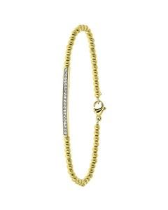 Armband aus Edelstahl, vergoldet, Kugelkette/Steg, weißer Kristall
