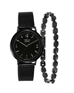 Stalen Set Blackplated Armband & Horloge > Maat 22 Cm