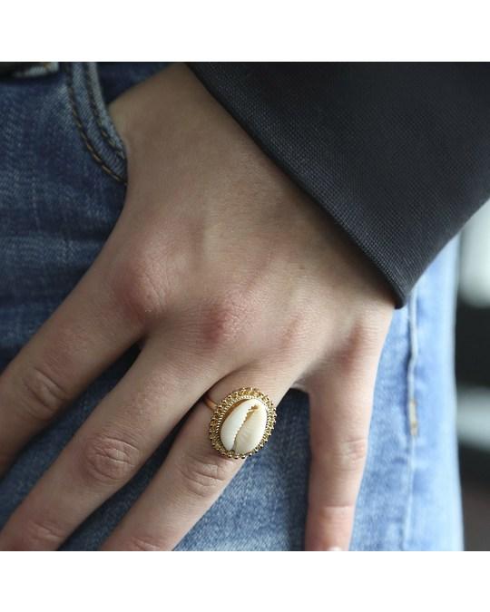 Lucardi Goudkleurige Byoux Ring Met Schelp