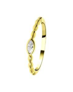 Ring, vergoldet, Kugel mit ovalem Zirkonia