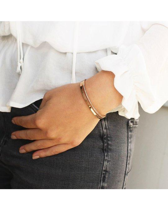 Lucardi Stalen Armband Bangle Rose Light Peach Kristal