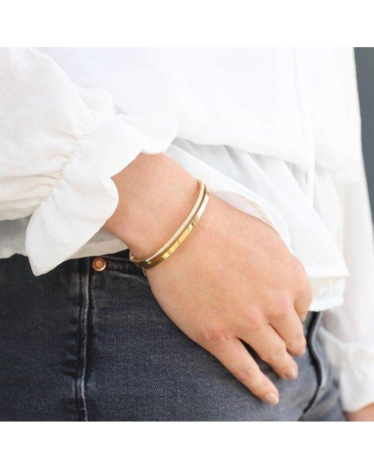 Lucardi Bangle-Armreif aus Edelstahl, vergoldet, weißer Kristall