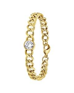 Stalen Armband Goldplated Met Witte Zirkonia