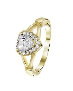 Goldplated Ring Hart White Met Zirkonia