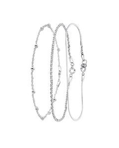 Zilveren Set Met 3 Armbanden > Maat 18.5 Cm