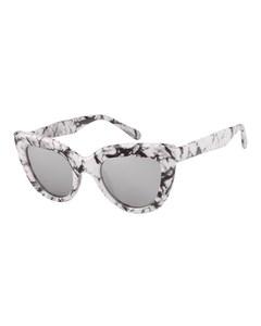 Marmerpatroon Zonnebril Met Zilverkleurige Glazen