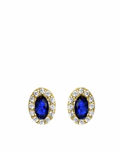 Ovale Ohrringe aus 585 Gold mit Zirkonia