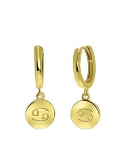 Zilveren Oorbellen Gold Disc Sterrenbeeld - Kreeft