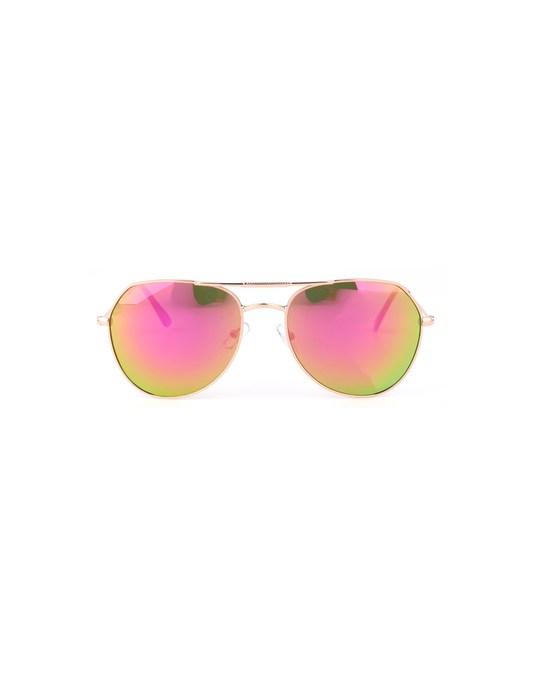 Lucardi Goudkleurige Zonnebril Met Roze Spiegelglazen