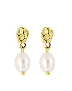 Goldfarbene Bijoux-Ohrringe mit Perle