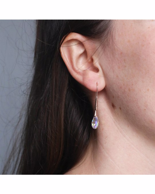 Lucardi Zilveren Oorbellen Rose Swarovski Kristal Ab