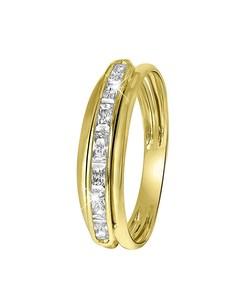 Gelbgoldener Ring mit Schiene mit Zirkonia