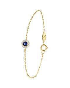 Armband, 585 Gelbgold, Zirkonia in Blau/Weiß