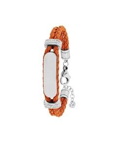 Stahl Spritzplatte Armband Leder hellorangefarbene Kristall