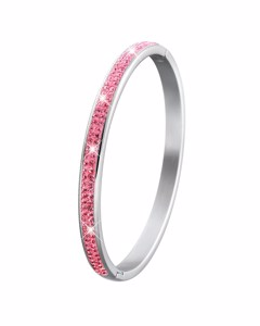 Stalen Kinderarmband Roze Kristal