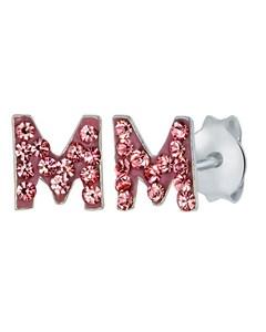 Silberne Kinderohrringe Initalien rosa Kristall - Buchstabe M