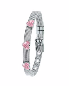 Stalen Kinderarmband Hart Met Light Pink Kristal