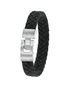 Stahlarmband für Jungen mit schwarzem Leder
