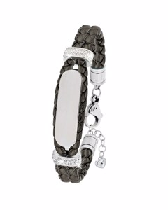 Stahl Spritzplatte grau Lederarmband mit Kristall