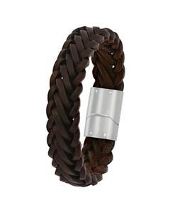 Stahl-Armband für Jungen mit braunem Leder