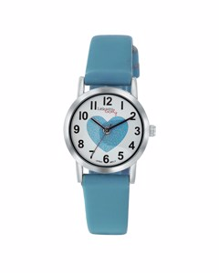 Little Miss Lovely Horloge Met Blauwe Leren Band