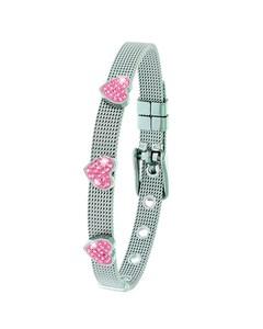 Kinderarmband mit Herz aus Stahl mit rosa Kristall