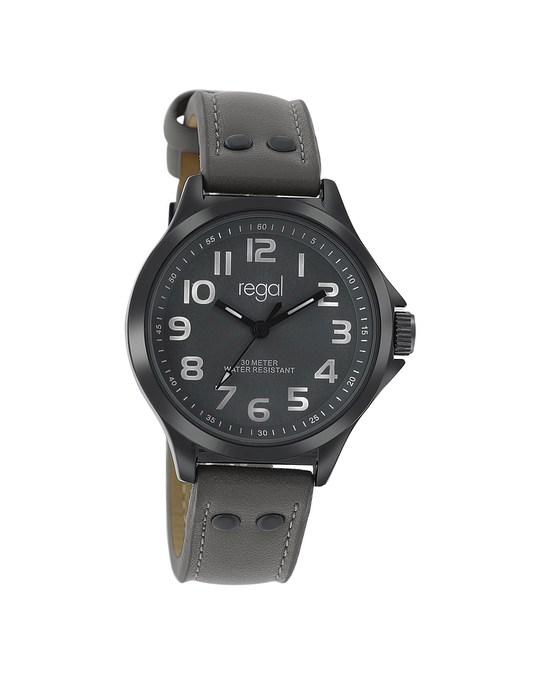 Regal Regal Armbanduhr für Jungen mit einem grauen Lederband