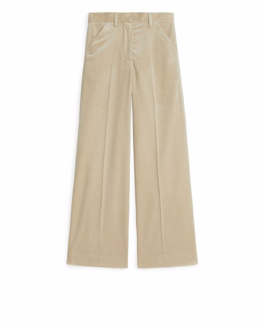 Arket Wide Corduroy Trousers Beige