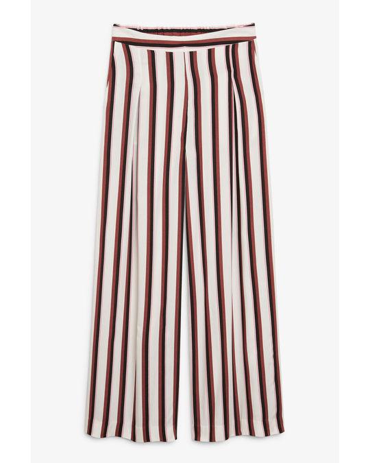 Monki Super wide leg pleated trousers Rusty stripes