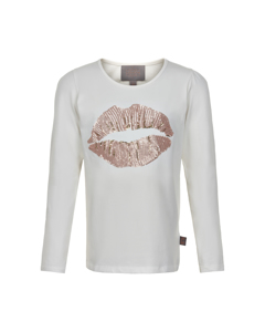 T-shirt Lips Sequins Ls Rose Smoke