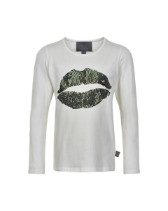T-shirt Lips Sequins Ls Bistro Green