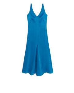 Fluted Satin Dress Blue