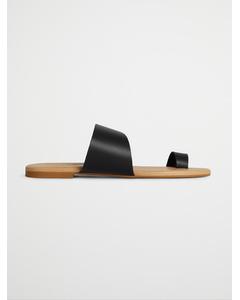 Biacai Leather Toe Sandal  Black