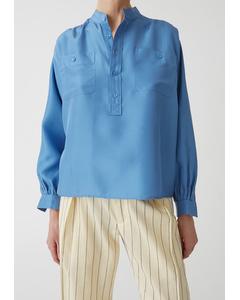 Dalia Silk Shirt Azure Blue