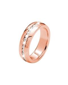Rotvergoldete Ring aus Edelstahl mit Zirkonia