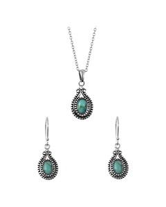 Zilveren Set Ovaal Turquoise Bali > Maat 45 Cm