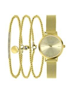 Stalen Set Goldplated Endless Armbanden&horloge > Maat 18.5