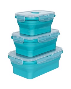 Trespass Lunchset Silicone Collapsible Boxes (set Of 3)