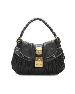 Miu Miu Coffer Leather Satchel Black