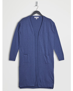 100% Recycled Uneven Hem Longline Cardigan Navy