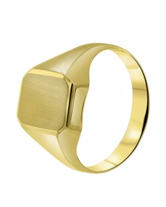 Gelbgold-Ring, sechseckig, 585 Gelbgold