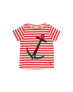 Em Myx T-shirt Stripe Linen Blend Raspberry
