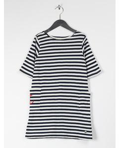 Em Nova Dress Stripe Linen Blend Navy