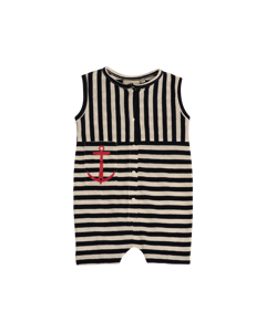 Em Vac Jumpsuit Stripe Linen Blend Navy