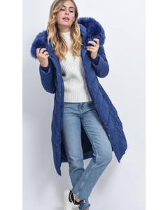 Quilted Long Coat With Hood And Faux Fur