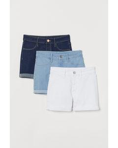 3er-Pack Jeansshorts Weiß/Hellblau