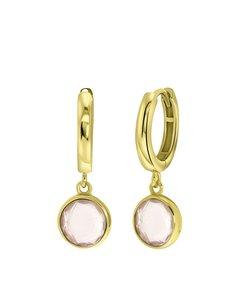 Zilveren Oorbellen Gold Gemstone Rose Quarts